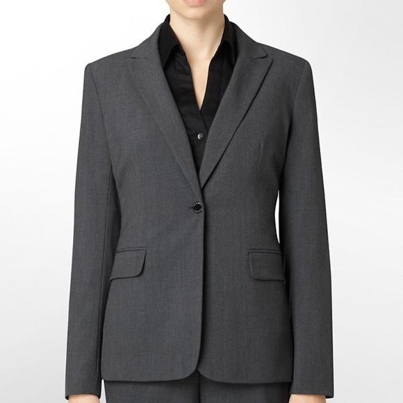 Calvin Klein Jackets Coats Womens Gray Suit Jacket Size 10